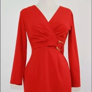 Calvin Klein Womens Red Faux Wrap Dress LS